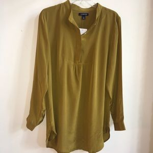 Lands' End Deep Gold Silk Popover NWT Blouse 12